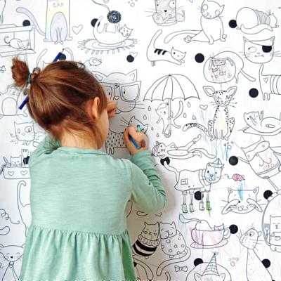 Atelier Rue Tabaga Affiche géante à colorier - Les chats