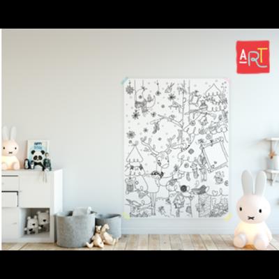 Atelier Rue Tabaga Affiche géante à colorier - Hiver