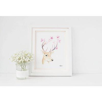 Hobeika Art Affiche - Cerf fleurs
