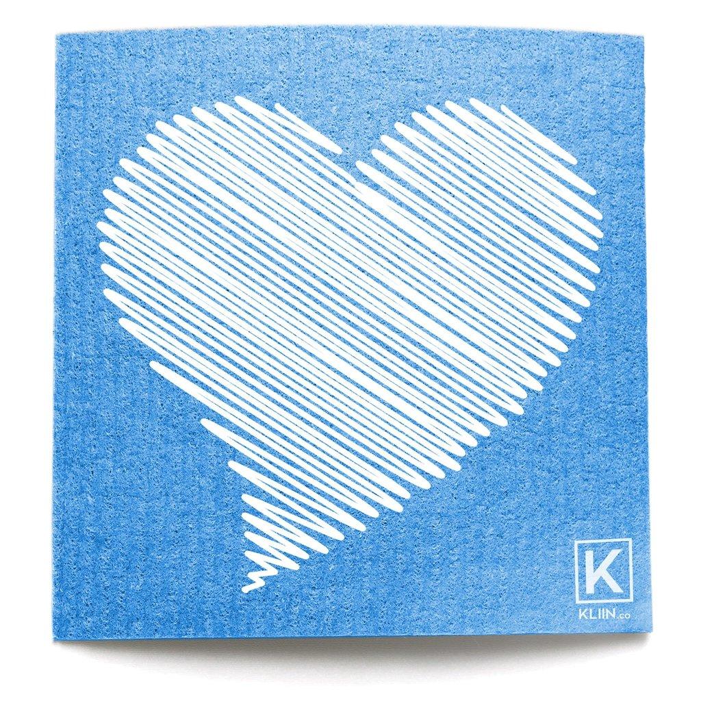 KLIIN Grand essuie-tout réutilisable - Bleu coeur blanc