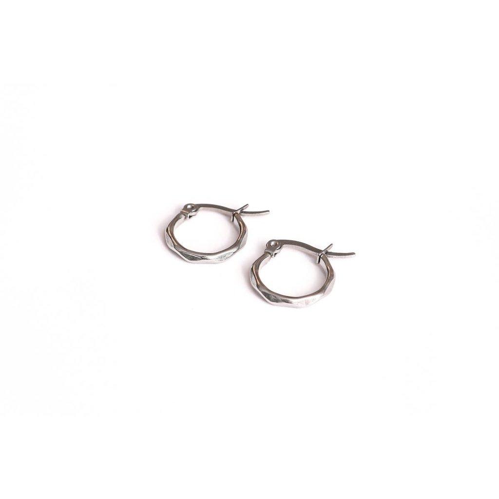 Twenty Compass Boucle d'oreilles - Anneaux texturés argent 15 mm