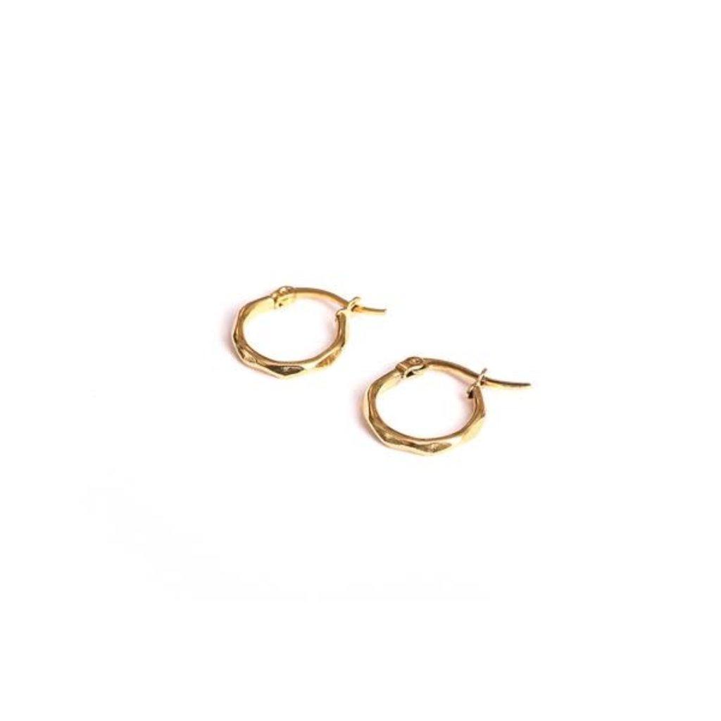 Twenty Compass Boucles d'oreilles - Anneaux texturés or 15 mm