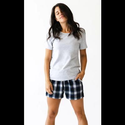 Rose Maternité Pyjama - Bleu marin & gris