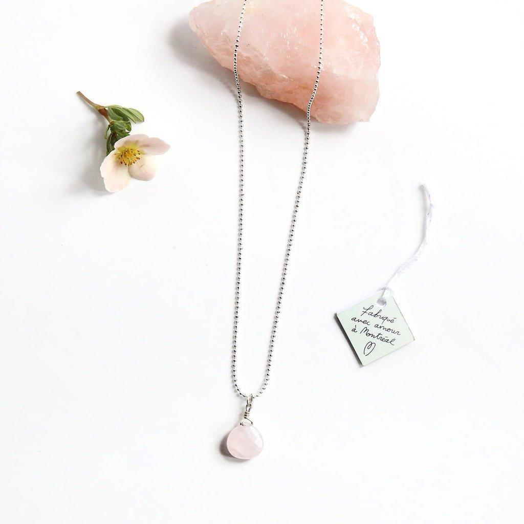 Si Simple Collier - Quartz Rose