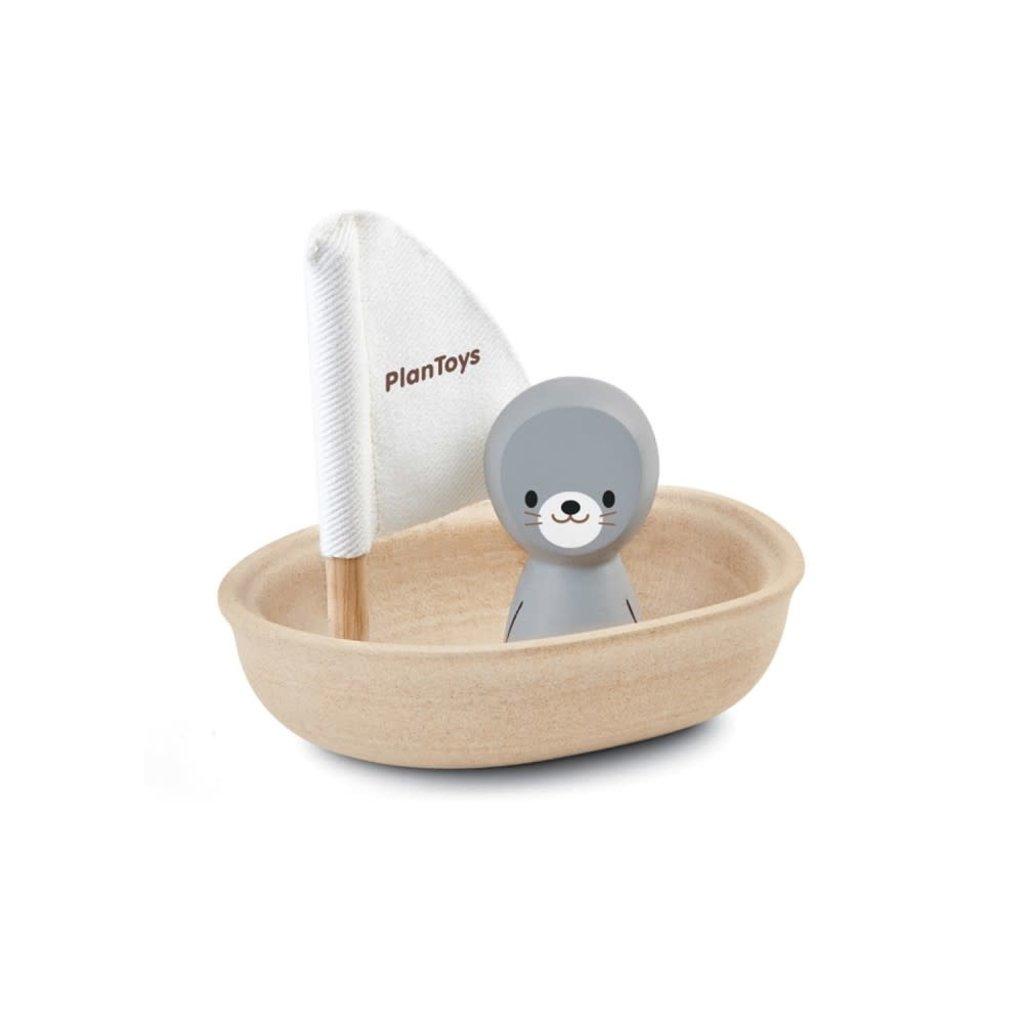 Plan Toys Jouet en bois écologiques - Phoque sur un voilier