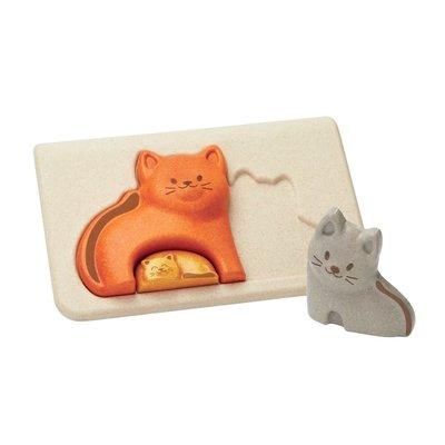 Plan Toys Jouet en bois écologiques - Puzzle famille de chat