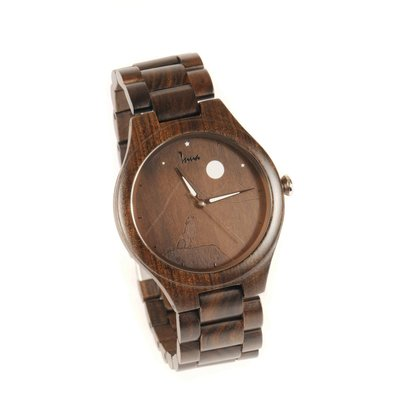 Inua Montre en bois - Wolf at night