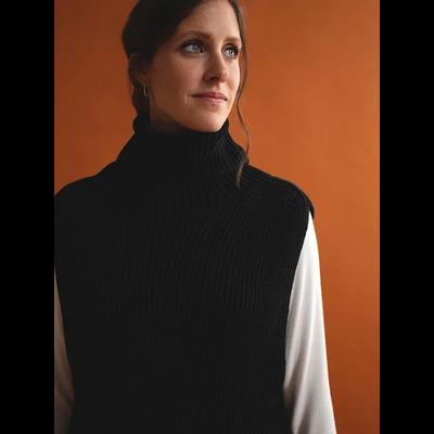 Faures Ölfus - Col roulé noir en tricot
