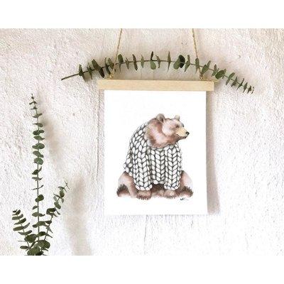 katrinnillustration Affiche - Ourson et tricot