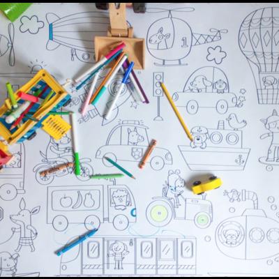 Atelier Rue Tabaga Affiche géante à colorier - Les moyens de transport