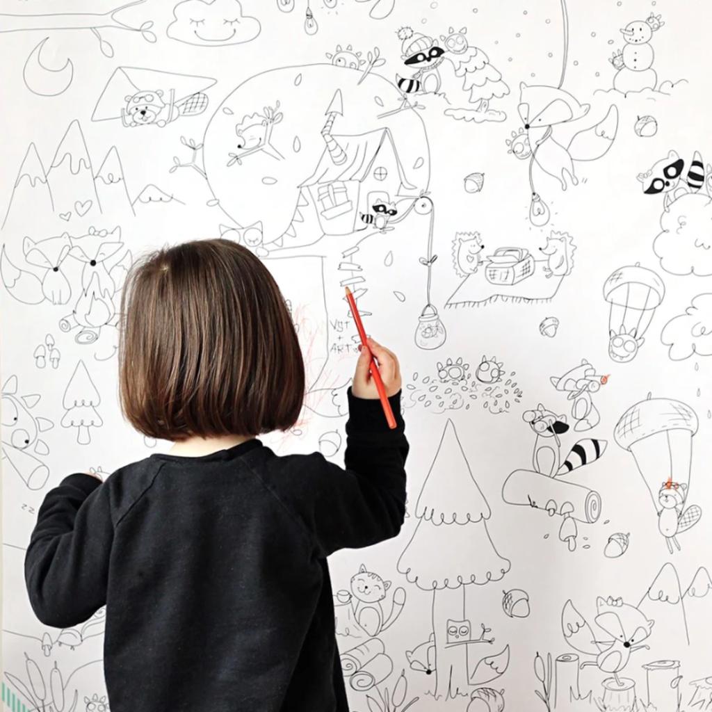 Atelier Rue Tabaga Affiche géante à colorier - La forêt