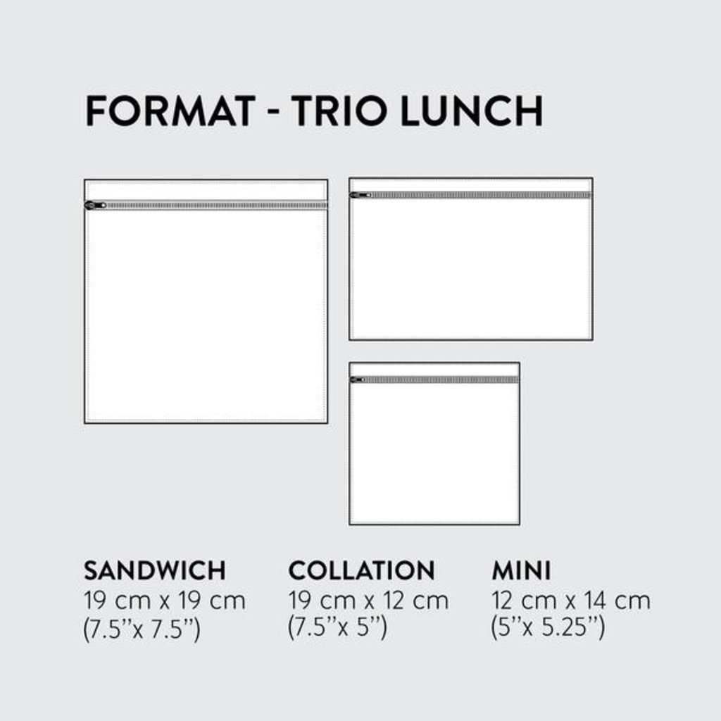 DemainDemain Trio de sacs réutilisables - Fruits et légumes gris