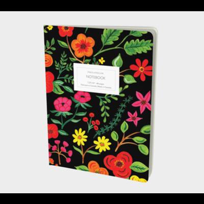 Paige & Willow Cahier - Fleurs sur fond noir