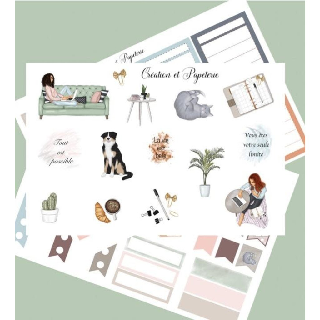 Création et Papeterie Autocollants - Ensemble organisation cozy (3)
