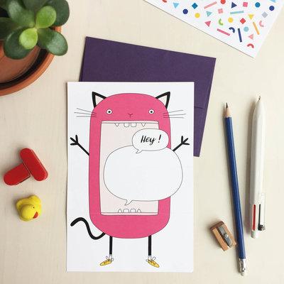Petit Happy Carte à déplier - Chat