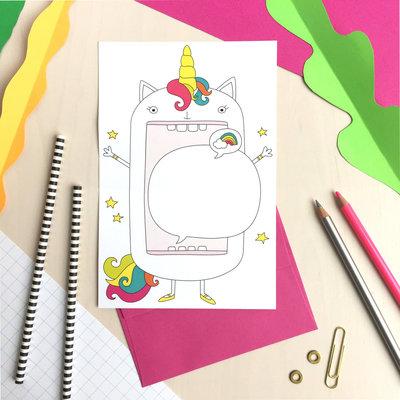 Petit Happy Carte à déplier - Licorne