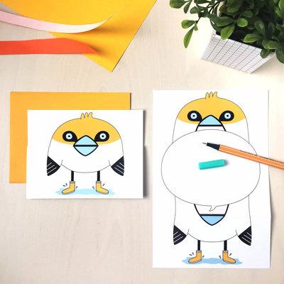 Petit Happy Carte à déplier - Oiseau