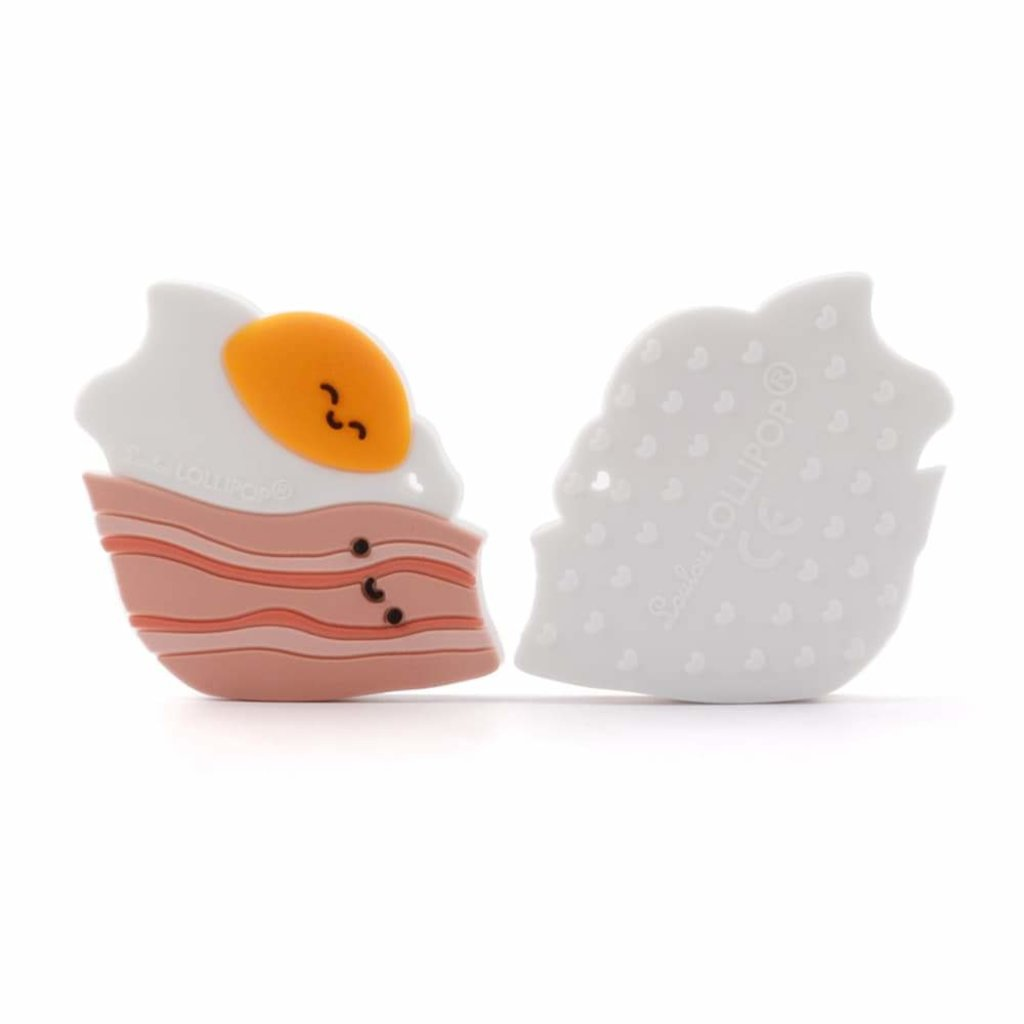 Loulou lollipop Jouet de dentition en silicone - Bacon & oeuf