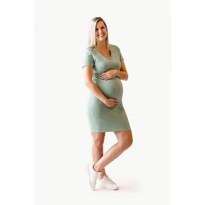 Rose Maternité Robe Intrigue col en V - Turquoise