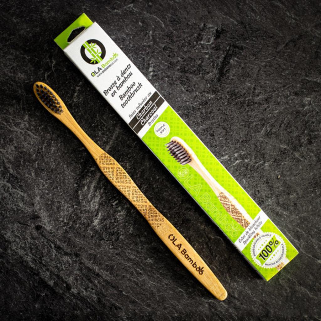 OLA Bamboo Brosse à dent en bambou au charbon