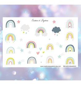 Création et Papeterie Autocollants - Arc-en-ciel couleur pastel