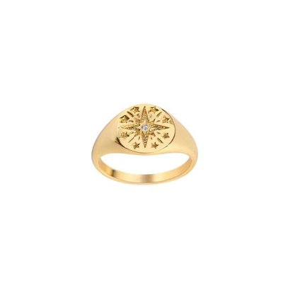 Twenty Compass Bague Star Signet - Vermeil