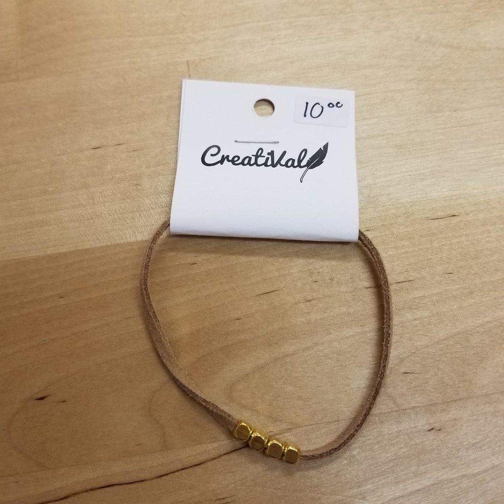 Bracelet suède - Billes or