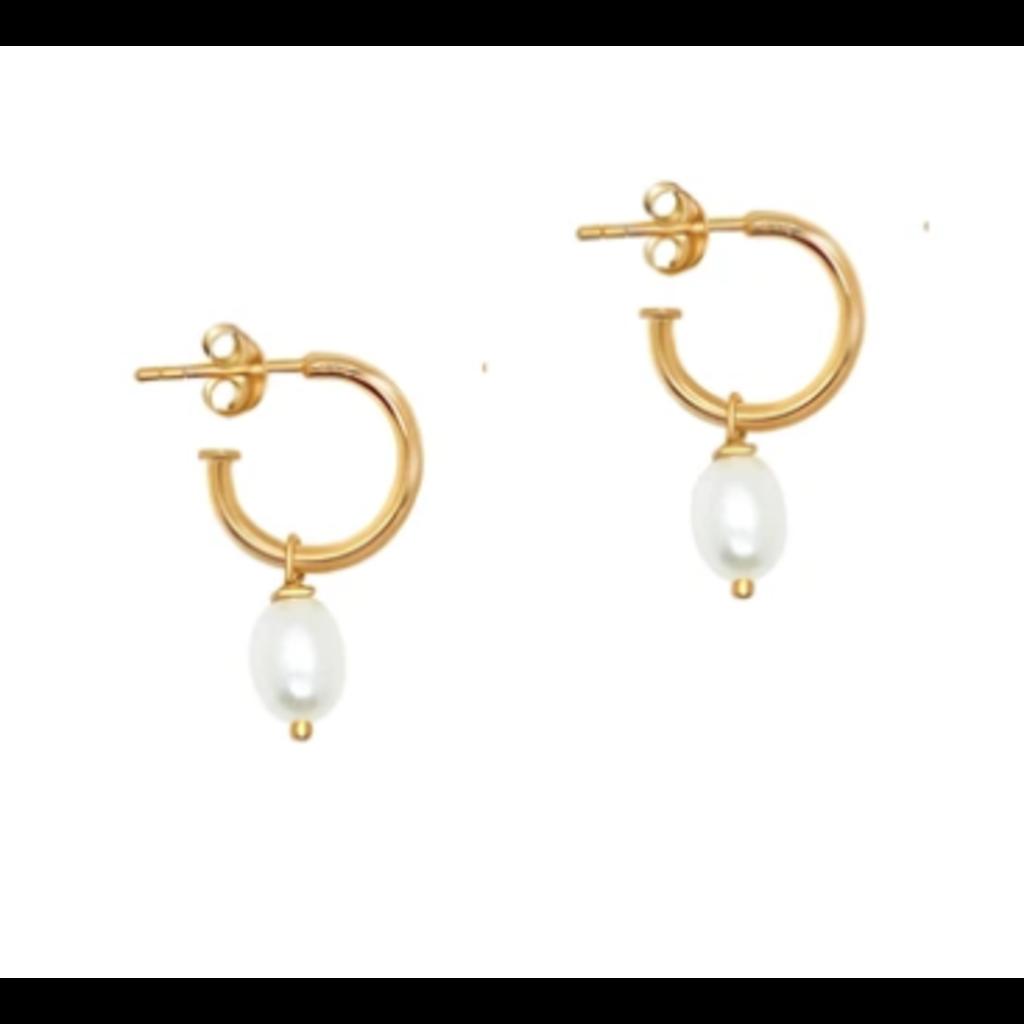 Twenty Compass Boucles d'oreilles - Pearl Gold