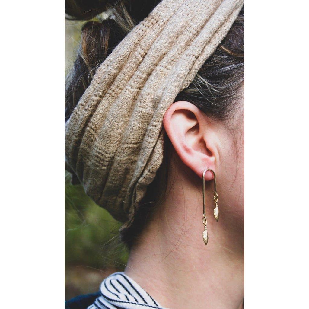 Boucle d'or Boucles d'oreilles - Tiges et plumes or