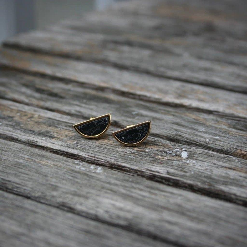 Boucle d'or Boucles d'oreilles - Demi-Lune marbrée noire