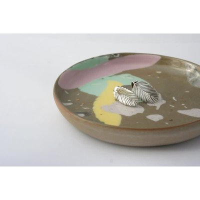 Boucle d'or Boucles d'oreilles - Feuille palmier argent