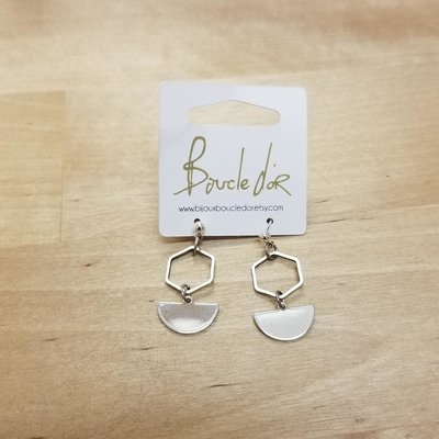 Boucle d'or Boucles d'oreilles- Hexagone et demi-lune