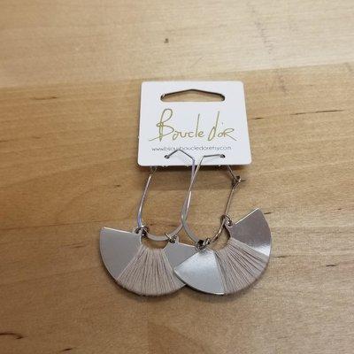 Boucle d'or Boucles d'oreilles- Demi-lune argent et fil beige