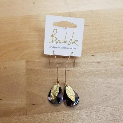 Boucle d'or Boucles d'oreilles- Gouttes d'eau avec feuilles or