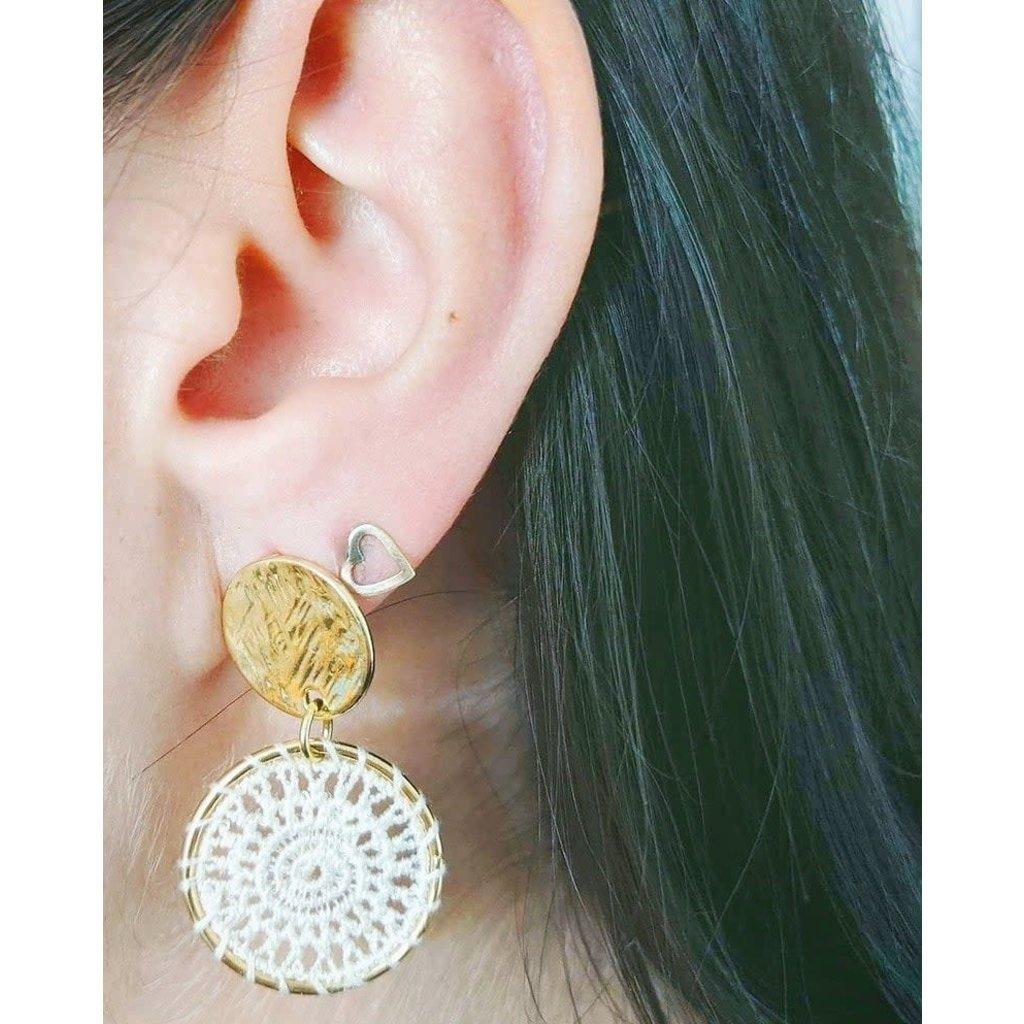 Boucle d'or Boucles d'oreilles - Capteur de rêve blanc