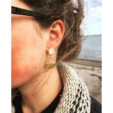 Boucle d'or Boucles d'oreilles - Rond or en rotin blanc