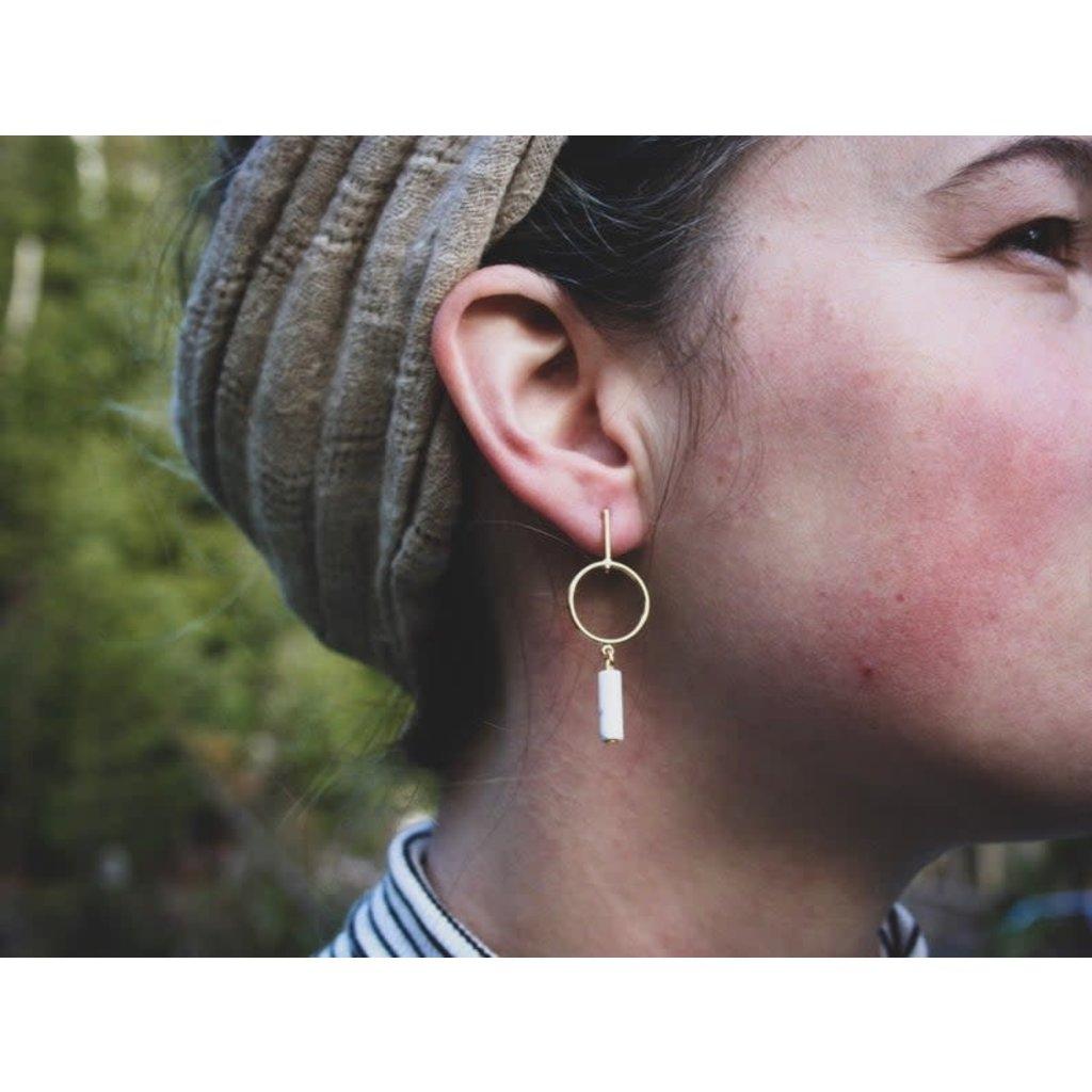 Boucle d'or Boucles d'oreilles - Rond or avec tige en marbre