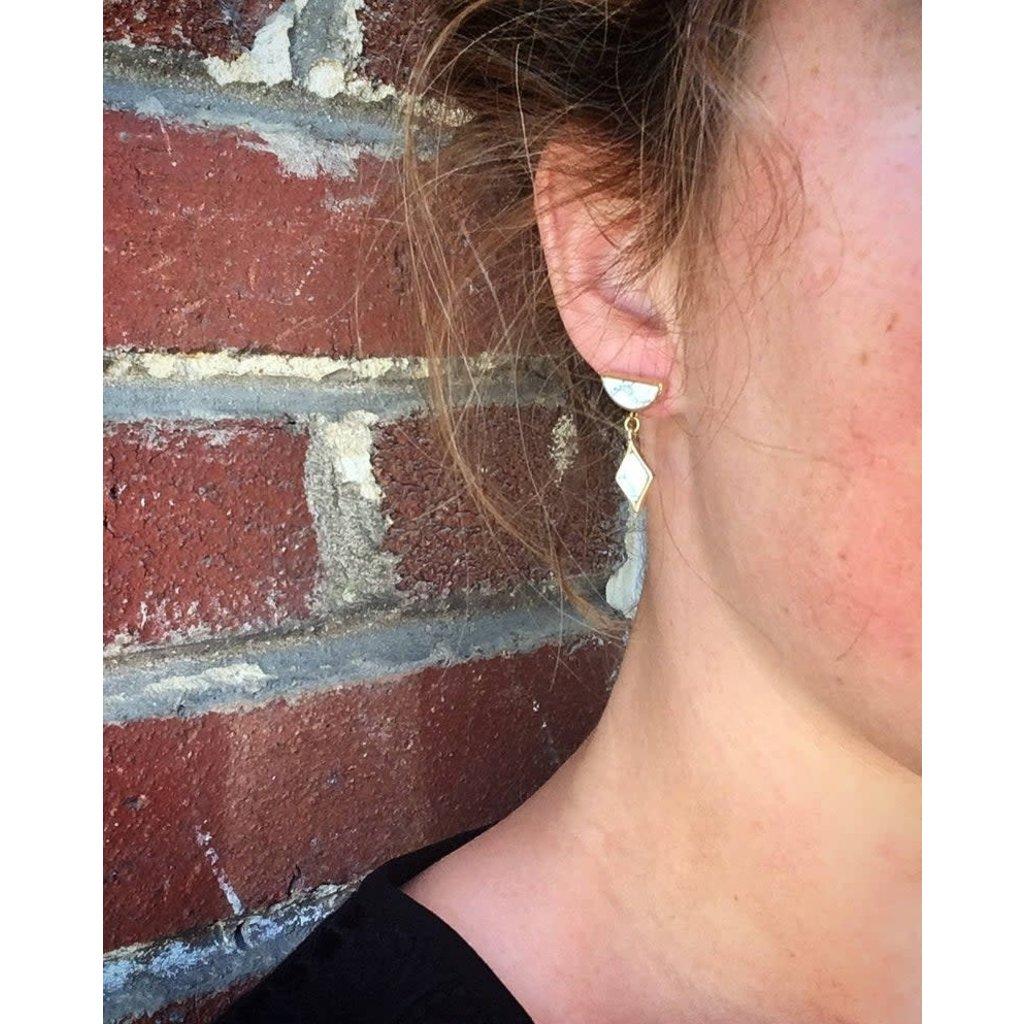 Boucle d'or Boucles d'oreilles - Demi-lune or et marbre