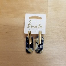Boucle d'or Boucles d'oreilles - Rond allongé noir et or