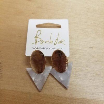 Boucle d'or Boucles d'oreilles - Triangle blanc et or