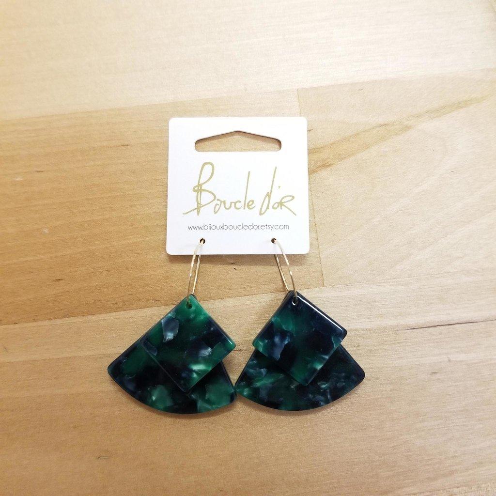 Boucle d'or Boucles d'oreilles - Triangle carré émeraude