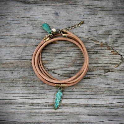 Boucle d'or Bracelet double - Plume et cuir brun