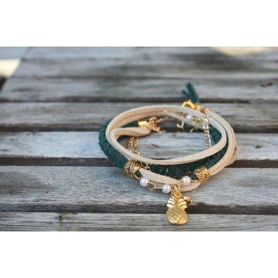 Boucle d'or Bracelet double - Ananas - Vert - Beige