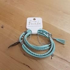 Boucle d'or Bracelet double - Plume et suède turquoise