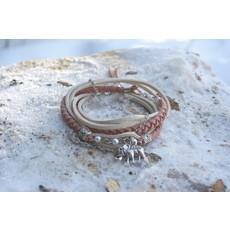 Boucle d'or Bracelet double - Éléphant suède rose