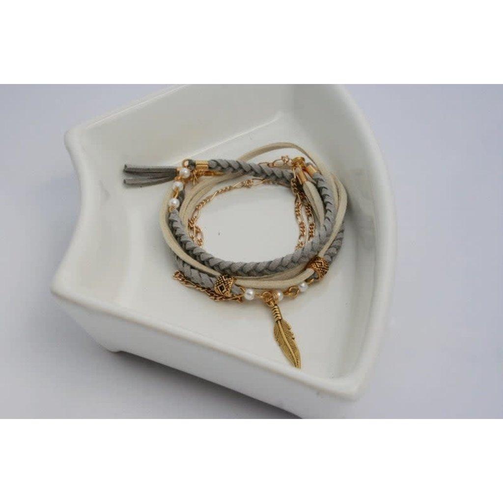 Boucle d'or Bracelet double - Plume et suède crème et gris