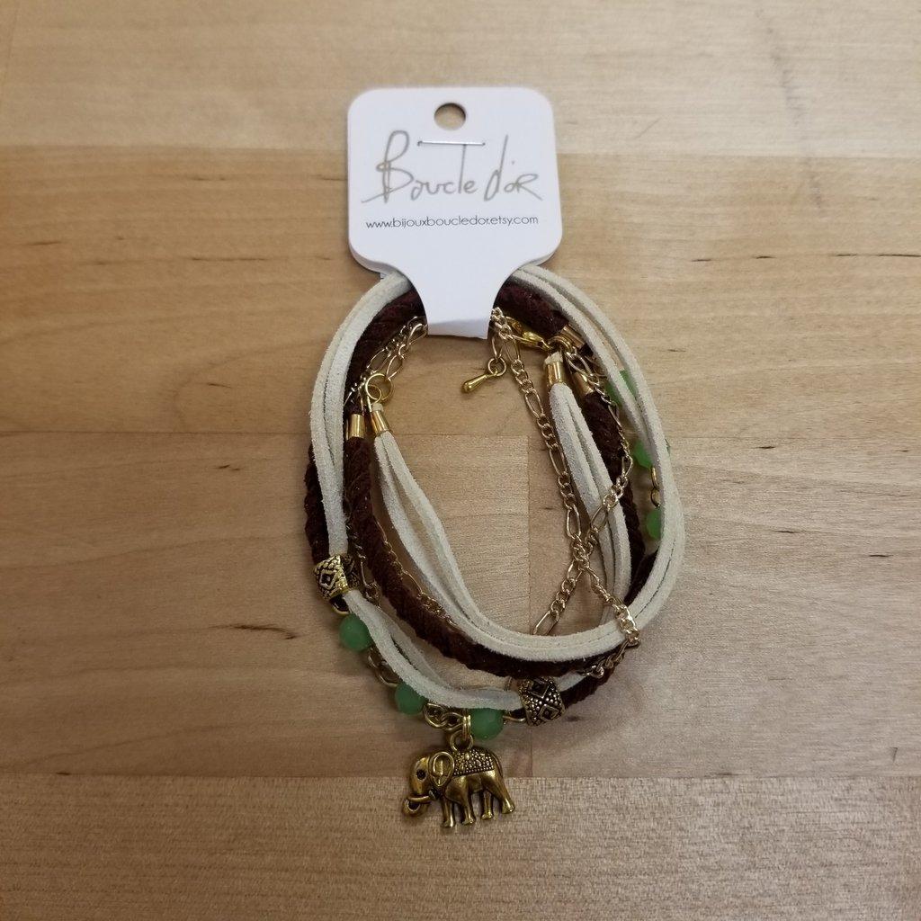 Boucle d'or Bracelet double - Éléphant or et suède bourgogne