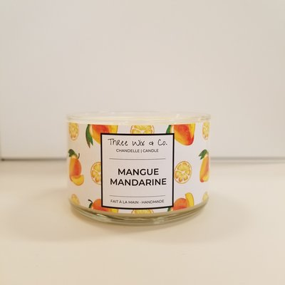Three Wix & Co. Chandelle à trois mèches - Mangue Mandarine