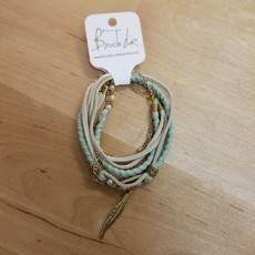 Boucle d'or Bracelet double - Plume or et suède turquoise