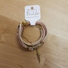 Boucle d'or Bracelet double - Plume et suède rose